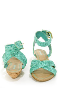 Bamboo Dalinda 15 Sea Green Woven Wedge Sandals at Lulus.com!