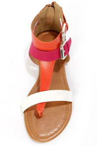 Bamboo Grayson 05 Orange Multi Gladiator Thong Sandals at Lulus.com!