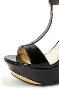 My Delicious Twice Black Patent T-Strap Platform Wedges at Lulus.com!