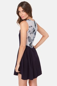 Rhythm Jess Navy Blue Print Dress