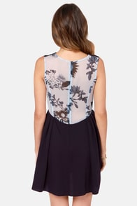 Rhythm Jess Navy Blue Print Dress at Lulus.com!