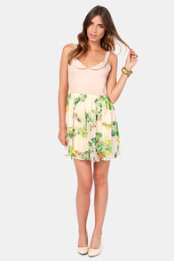 Rhythm Drum Beige Fruit Print Dress at Lulus.com!