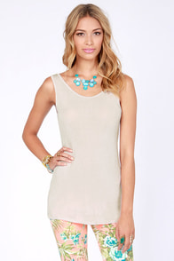 Rhythm My Scoop Beige Tank Top at Lulus.com!