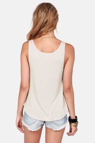 Rhythm Love Ying Beige Print Tank Top at Lulus.com!