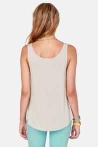 Rhythm Nice Beige Smiley Face Print Tank Top at Lulus.com!