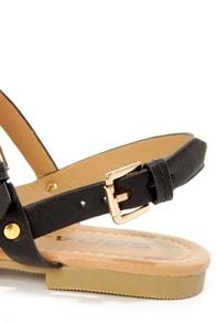 Soda Gotcha Black T-Strap Gladiator Sandals at Lulus.com!