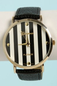 The Clock Stripes Twelve Black and White Watch at Lulus.com!