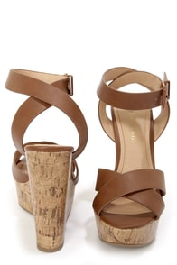 City Classified Olio Tan Platform Wedge Sandals at Lulus.com!