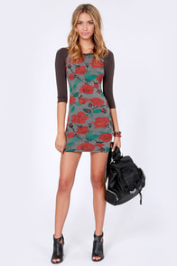 Obey Debbie Grey Rose Print Dress at Lulus.com!