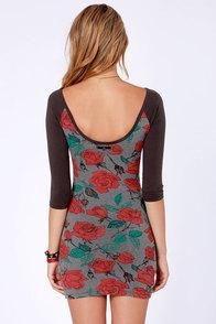 Obey Debbie Grey Rose Print Dress at Lulus.com!
