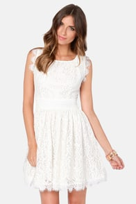 Darling Angelina Ivory Lace Dress at Lulus.com!
