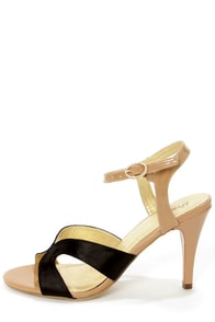 Promise Little Black Satin and Tan Patent Dress Sandals
