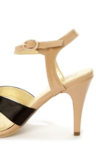 Promise Little Black Satin and Tan Patent Dress Sandals at Lulus.com!