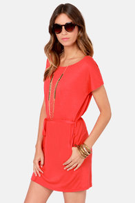 Cinch Hitter Belted Coral Dress at Lulus.com!