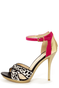 Promise Qasim Black Dalmatian Print Color Block High Heels
