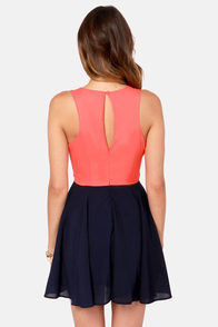 Three-sy Does It Navy Blue, Coral, and Cream Dress at Lulus.com!