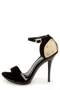 Promise Emerson Black & Gold Plated High Heel Sandals at Lulus.com!