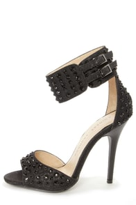 Chinese Laundry Jovial Black Ankle Cuff Rhinestone High Heels at Lulus.com!