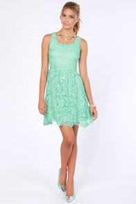 Herb Garden Party Mint Lace Dress at Lulus.com!