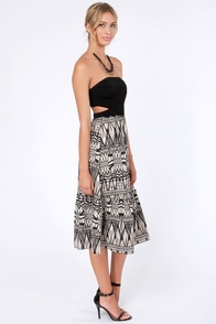 Aryn K Print and Proper Strapless Black Print Dress at Lulus.com!