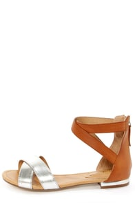Jessy 02 Tan and Silver Color Block Flat Sandals