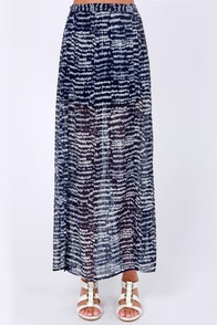 Set You Free-quency Navy Blue Print Maxi Skirt at Lulus.com!