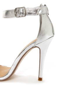 My Delicious Chacha Silver Metallic Single Strap High Heels at Lulus.com!