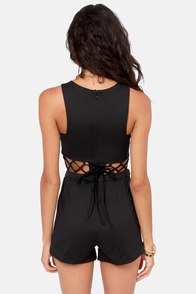 Top Romp-en Cutout Black Romper at Lulus.com!
