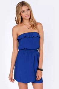 Lucy Love Jerry Hall Strapless Royal Blue Dress at Lulus.com!