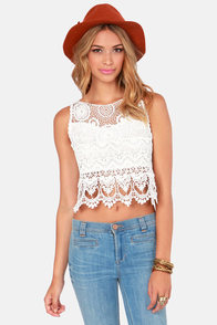 Second Set Crochet Ivory Crop Top at Lulus.com!