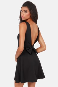 Bow-tiful Dreamer Backless Black Dress