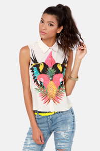 Insight Tropico Cream Tropical Print Top at Lulus.com!