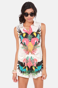 Insight Tropico Cream Tropical Print Shorts at Lulus.com!