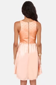 Ladakh Wild Flower Brocade Peach Dress at Lulus.com!