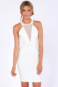 Around We Go Ivory Cutout Halter Dress