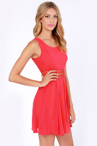 Afternoon in the Park Red Chiffon Dress at Lulus.com!