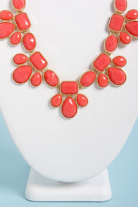 Gem Class Coral Statement Necklace at Lulus.com!