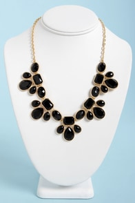Gem Class Black Statement Necklace at Lulus.com!