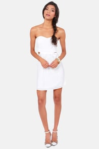 Notch to Mention Strapless Cutout White Dress at Lulus.com!