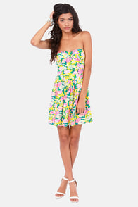 To Catch a Leaf Strapless Floral Print Dress at Lulus.com!