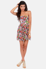 Friendly Briar Strapless Navy Blue Floral Print Dress at Lulus.com!