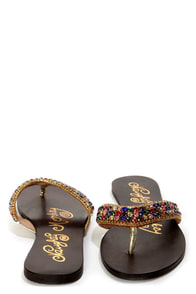 Naughty Monkey Fashion Fix Multi Rhinestone Thong Sandals at Lulus.com!