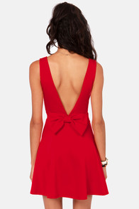 Bow-tiful Dreamer Backless Red Dress at Lulus.com!