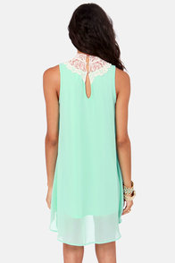 Yore's Truly Cream and Mint Lace Dress at Lulus.com!