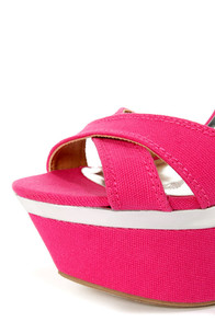 My Delicious Angeni Fuchsia and Silver Platform Wedge Sandals at Lulus.com!
