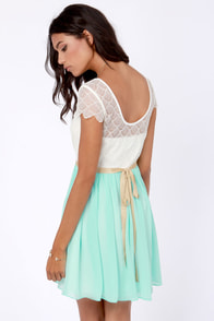 Lace-ies and Gentlemen Cream and Blue Lace Dress at Lulus.com!