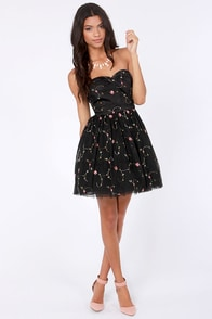 Evening Flare Strapless Black Floral Dress at Lulus.com!