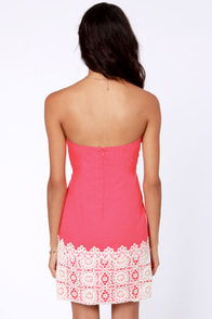 Fruit Punch Strapless Coral Pink Dress at Lulus.com!
