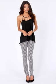 Cage Limit Strappy Black Top at Lulus.com!