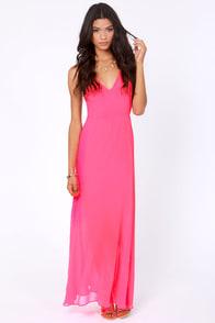 At Long Last Hot Pink Maxi Dress at Lulus.com!